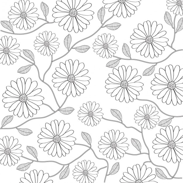 Floral Background In Black And White Vector Free Download