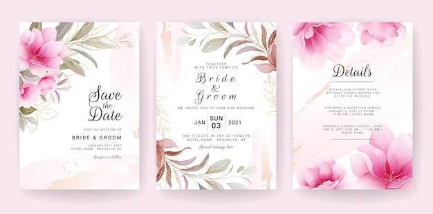 Цветочный фон карты. шаблон приглашения на свадьбу с цветами и блестками для сохранения даты, приветствия, плаката и оформления обложки Premium векторы