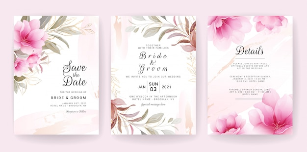 Floral background card. wedding invitation template set with flowers & glitter decoration for save the date, greeting, poster, and cover design Premium Vector