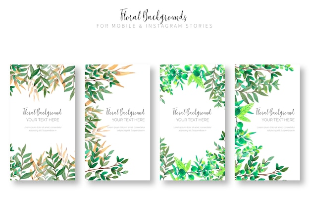 Floral background collection for mobile & instagram stories Free Vector