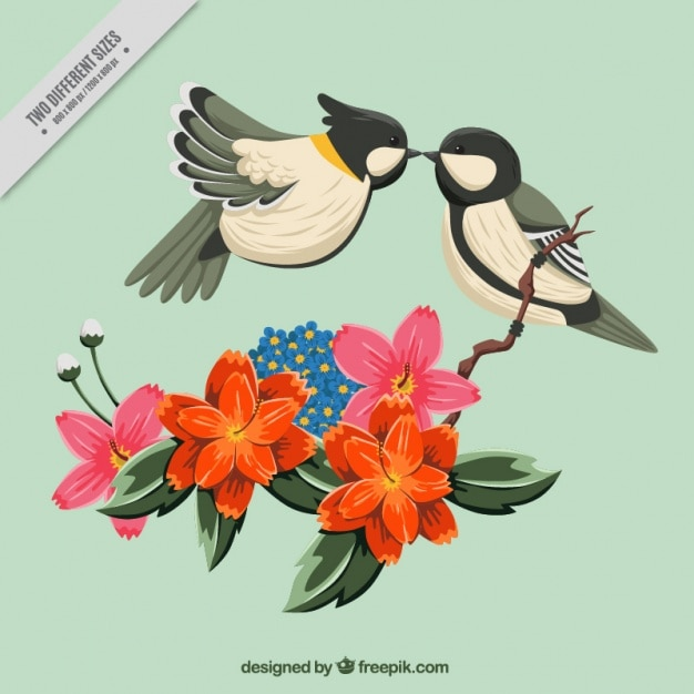 Floral background of cute birds kissing Premium Vector
