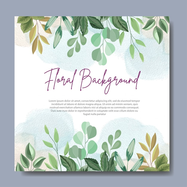Floral background design with beautiful leaves Premium Vector