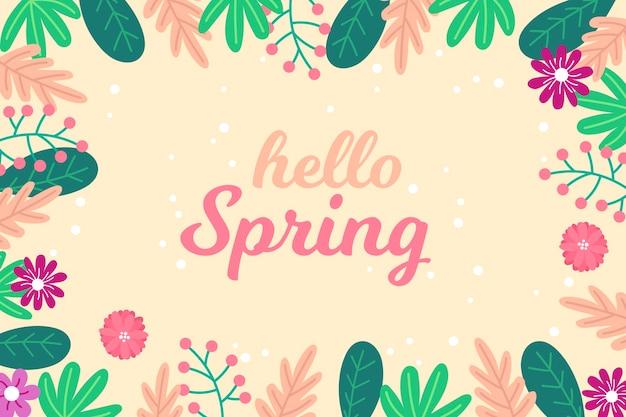 Sfondo floreale ciao primavera Vettore gratuito
