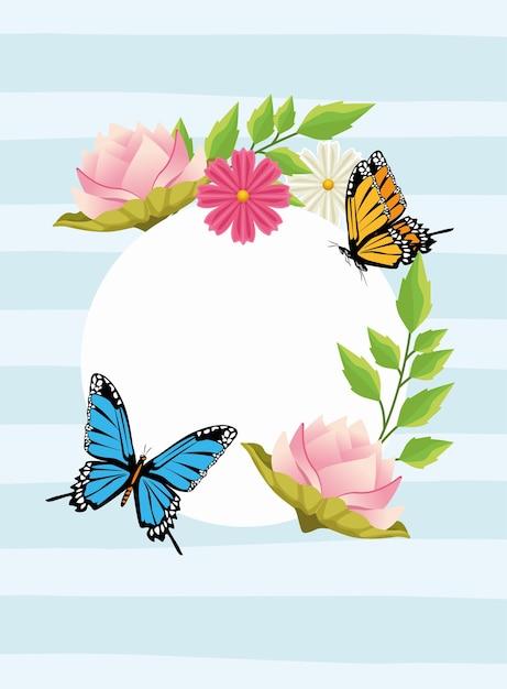 花と蝶の円形フレームの花の背景。 Premiumベクター