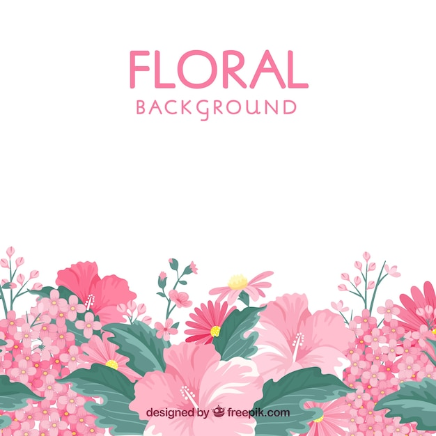 Floral background in flat style Free Vector