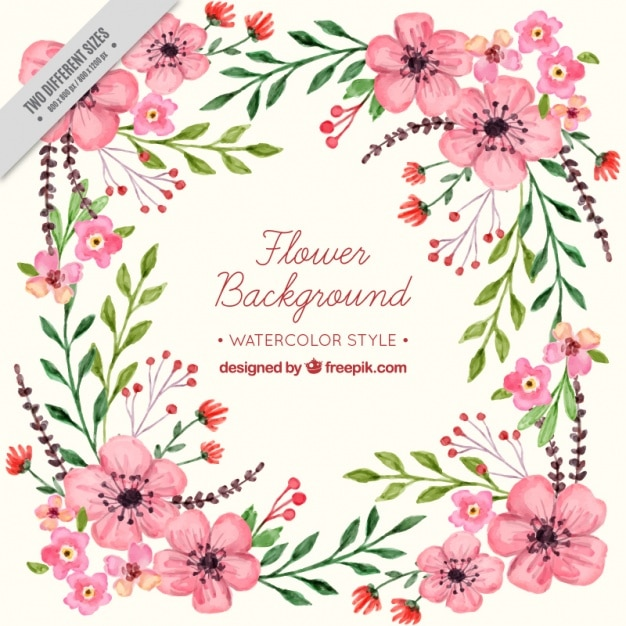 floral background in watercolor style vector free download