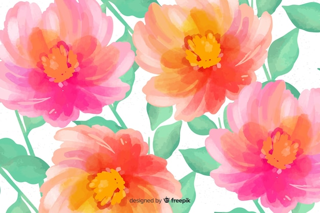 Floral background made with watercolors Free Vector