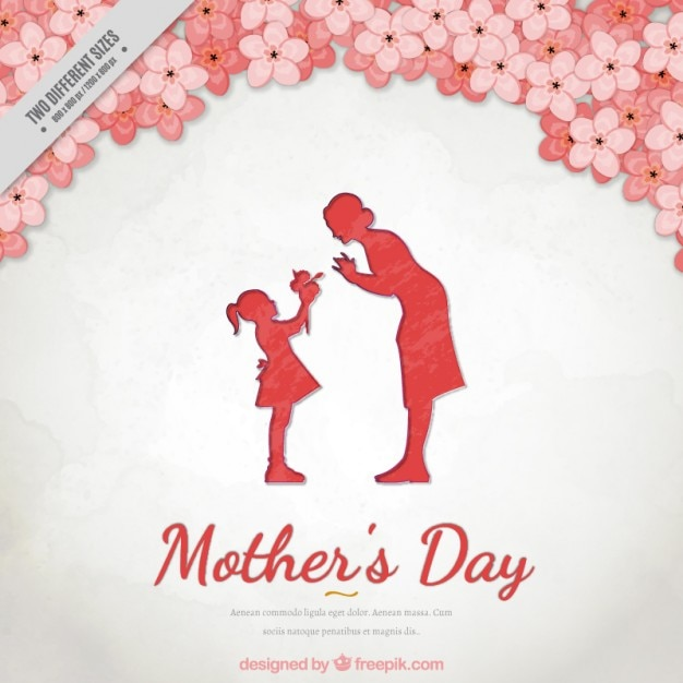 Floral background of mother\'s day with a lovely\ scene between mother and daughter
