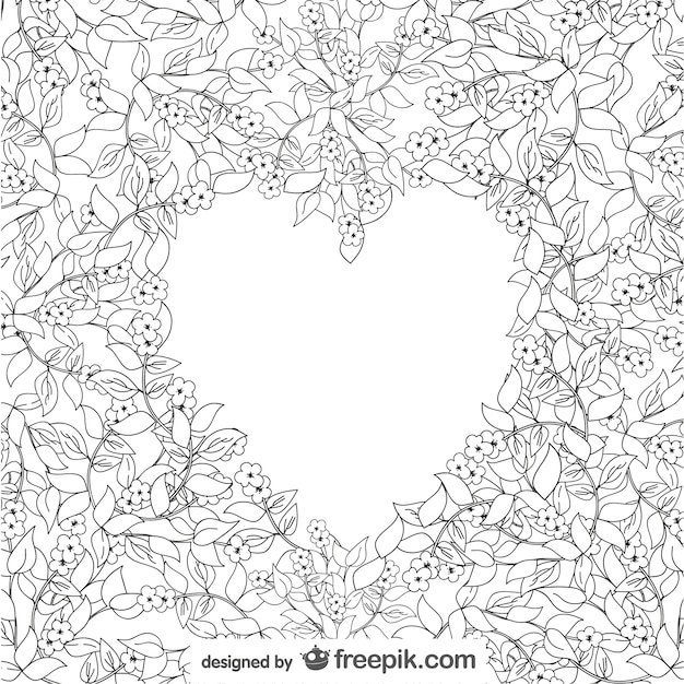 Floral Background Surrounding A White Heart Free Vector