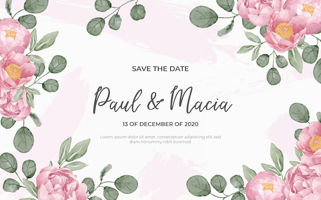 Floral background for wedding in watercolor Free Vector