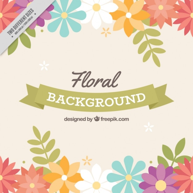 Floral background with beautiful colorful flowers Free Vector