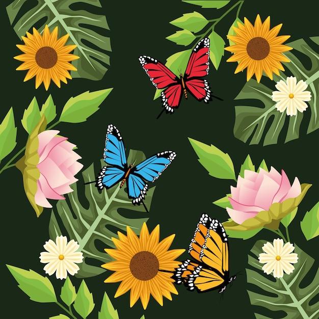 緑の背景に蝶と花のシーンと花の背景。 Premiumベクター