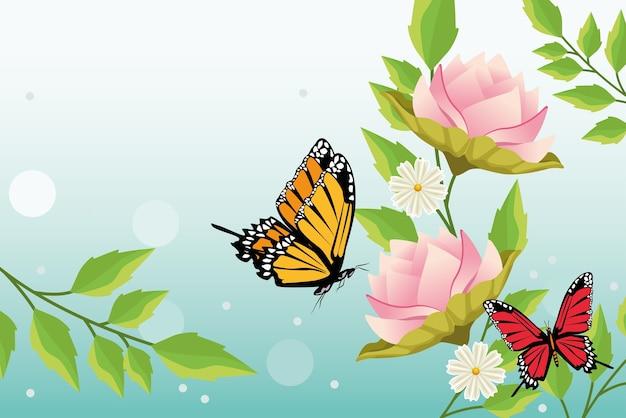 蝶と花のシーンと花の背景。 Premiumベクター