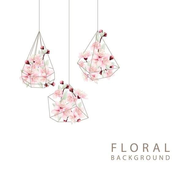 Floral background with cherry blossoms in terrarium Premium Vector