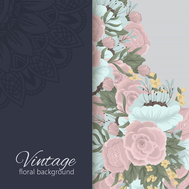 Floral background with colorful flower. Free Vector