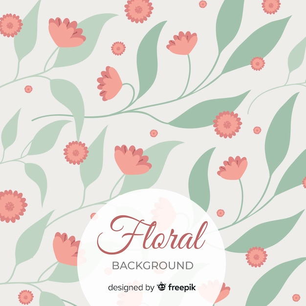 Floral background with cute green leaves background Free Vector