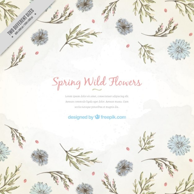 Floral background with delicated hand drawn leaves and flowers