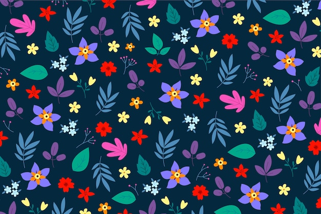 Floral background with ditsy motif Free Vector
