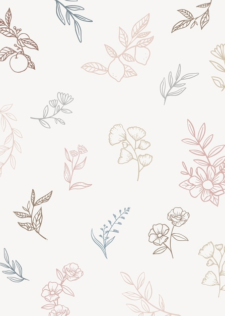 Floral background with doodle plants Free Vector
