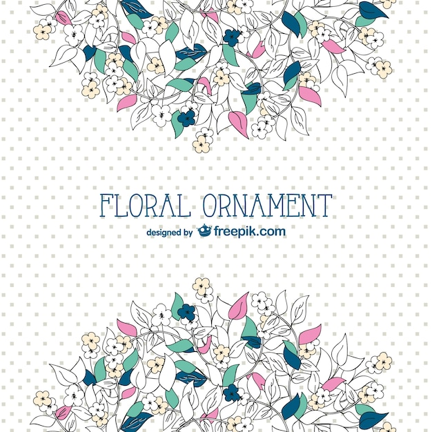 Floral background with dots Free Vector