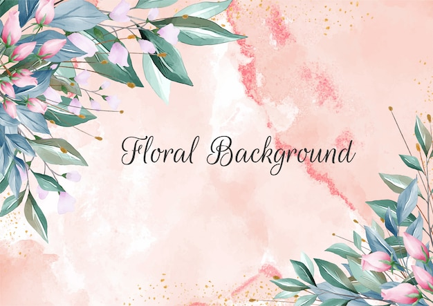 Floral background with elegant creamy watercolor textures and floral border decoration Premium Vector