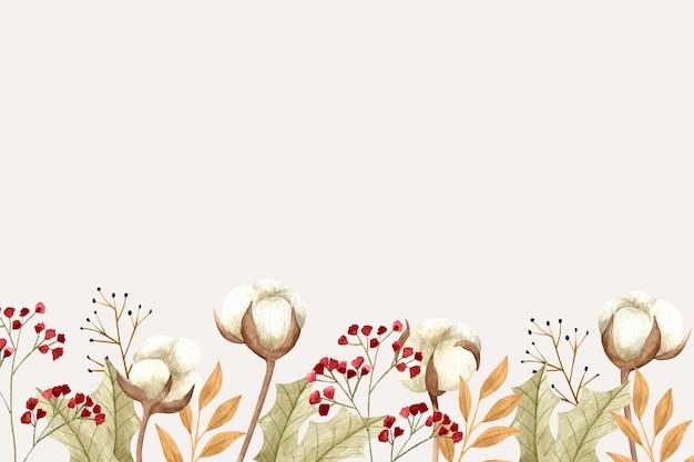 空のスペースと花の背景 Premiumベクター