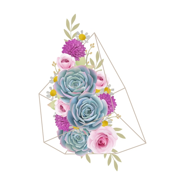Floral background with floral roses and succulent in terrarium Premium Vector