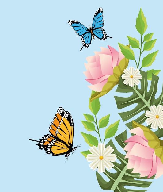 花と蝶のシーンと花の背景。 Premiumベクター