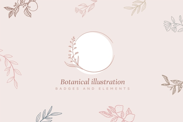 Floral background with frame and botanical illustration Free Vector