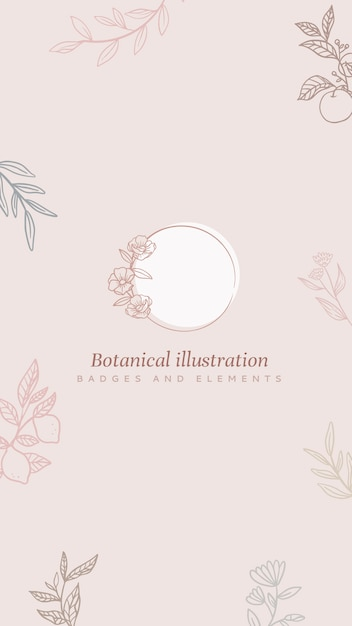 Floral background with frame and plants in lineart style Free Vector