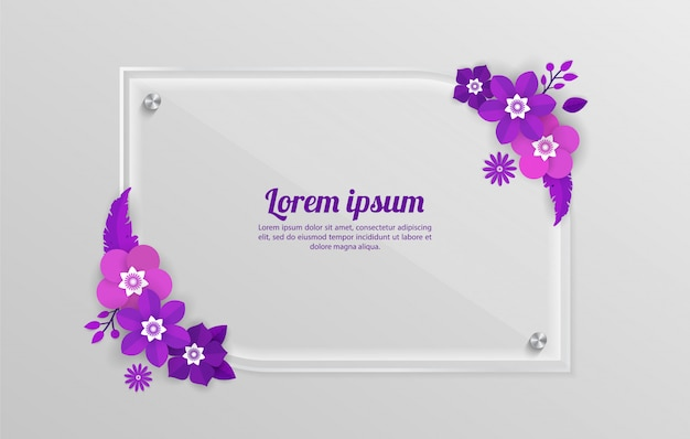 Floral background with glass frame template for shopping events, holiday and greeting, invitation cards Premium Vector