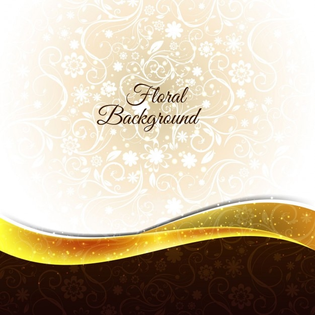 Floral Background With Golden Wave Free Vector