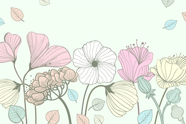 Floral background with hand drawn flowers and leaves Free Vector