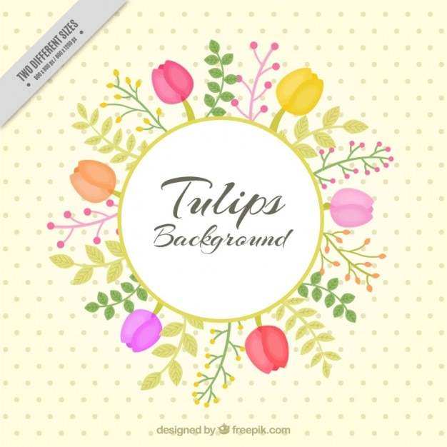 Floral background with hand drawn tulips