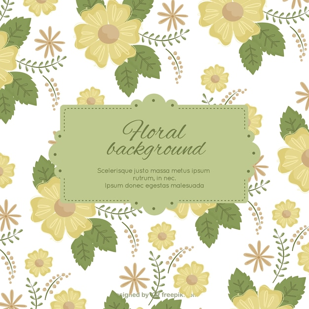 Floral background with label template Vector – Free Label Templates Download