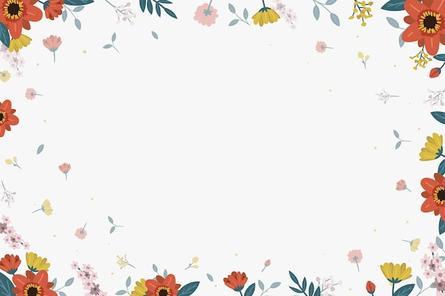 Floral background with leaves Free Vector