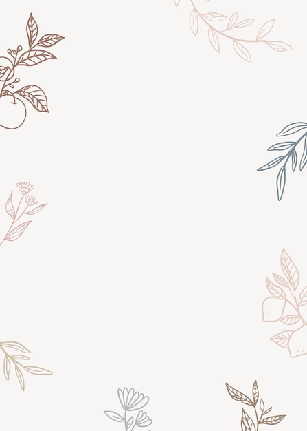 Floral background with plants in lineart style Free Vector