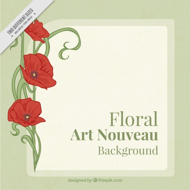 Art Nouveau Inspired California Poppy By Mason Larose: Floral Background With Poppies In Art Nouveau Style Vector