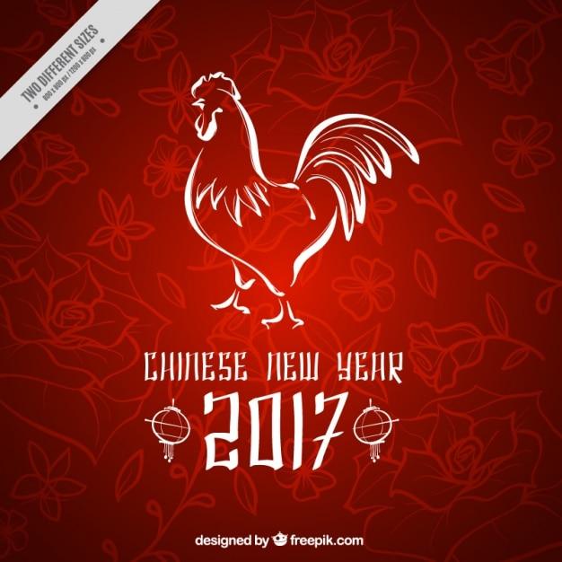 Priorità bassa floreale con gallo per il capodanno cinese Vettore gratuito