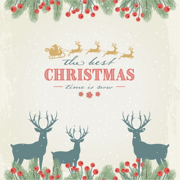 Floral background with snow and reindeers for\ christmas