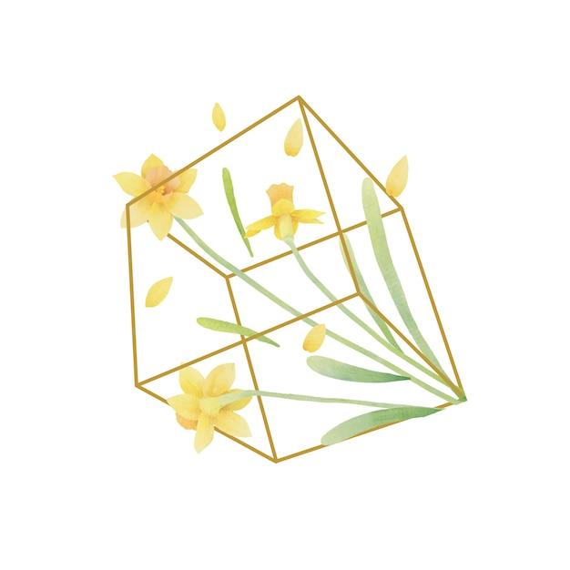 테라리움에 수채화 수 선화 꽃 꽃 배경 프리미엄 벡터