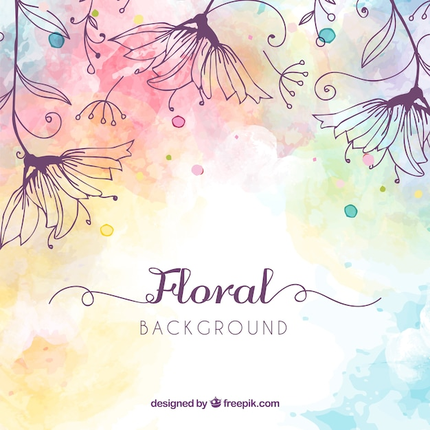 Floral background with watercolor style Free Vector