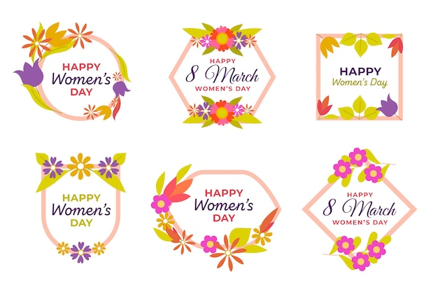 Floral badge collection with decorative frame Free Vector