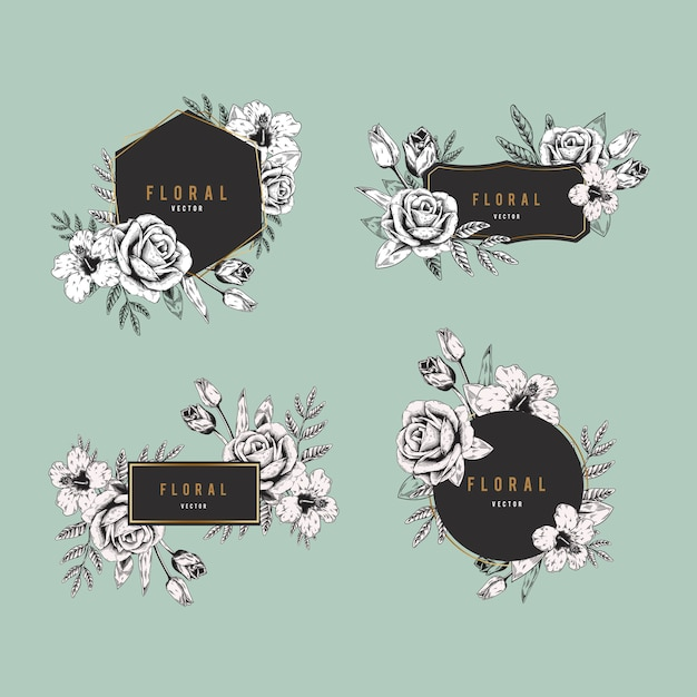 Floral badge set Free Vector
