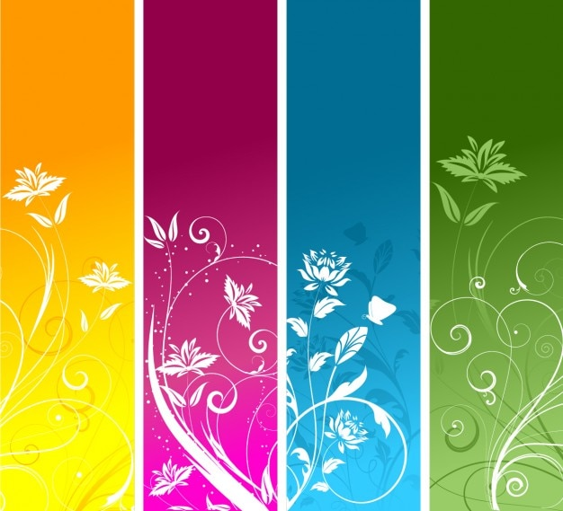 Colorful bookmark templates vector free download floral banners collection pronofoot35fo Gallery