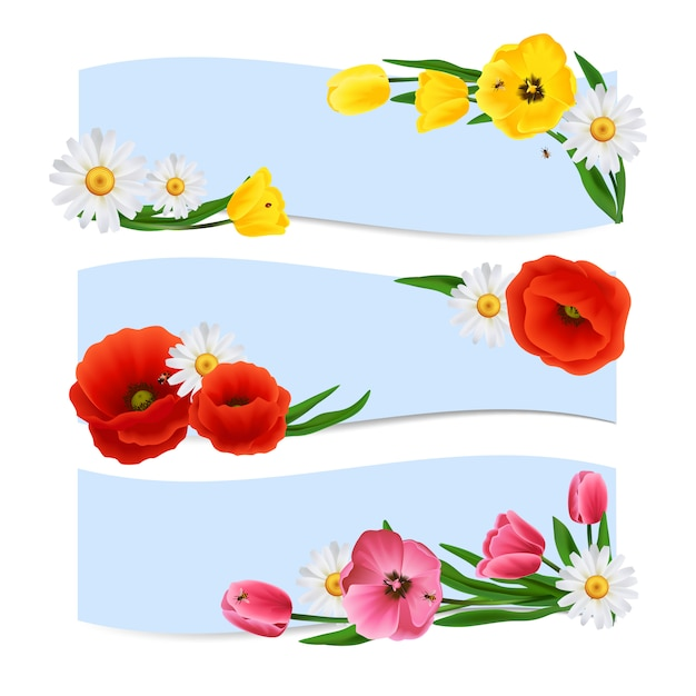 Floral banners horizontal Free Vector