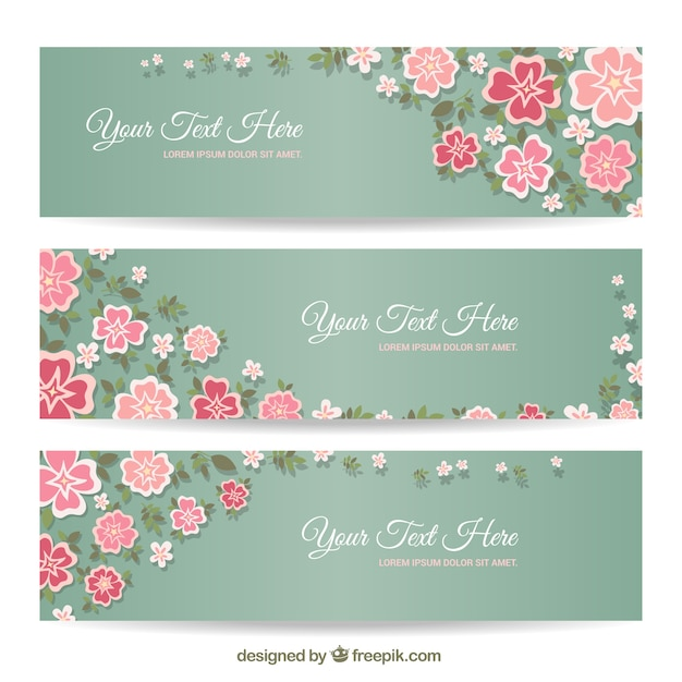 Floral banners in pastel colors Free Vector