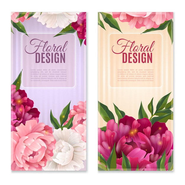 Floral banners set Free Vector