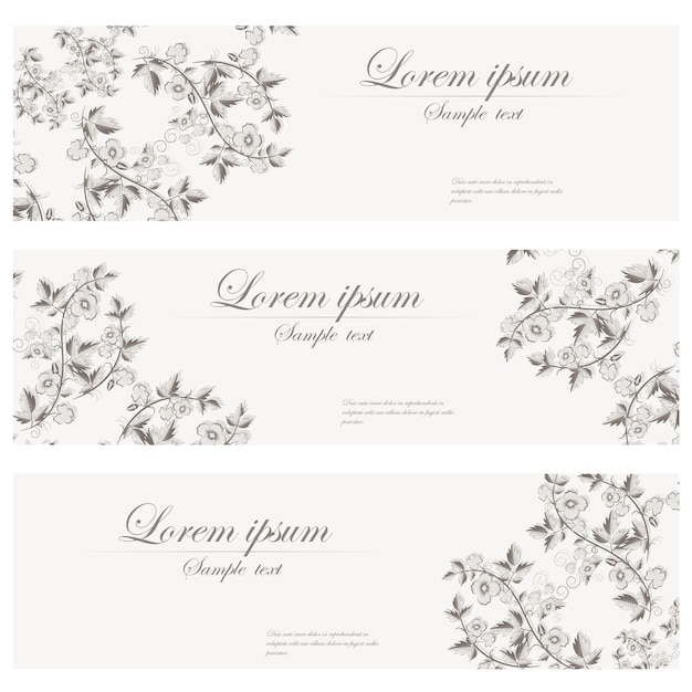 Floral banners vector retro style. Free Vector