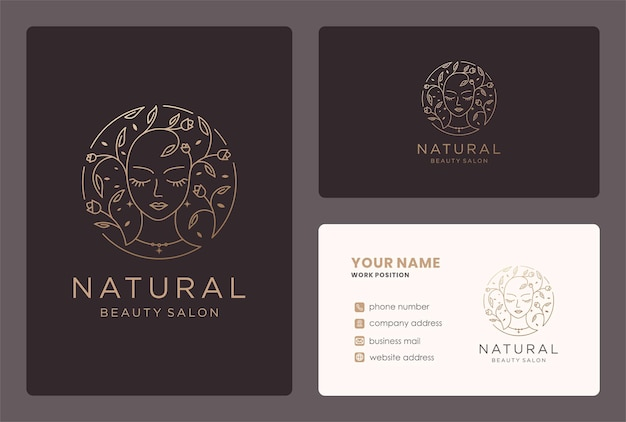Floral beauty logo monogram style with business card design.